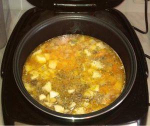 Приготовление горохового супа в мультиварке